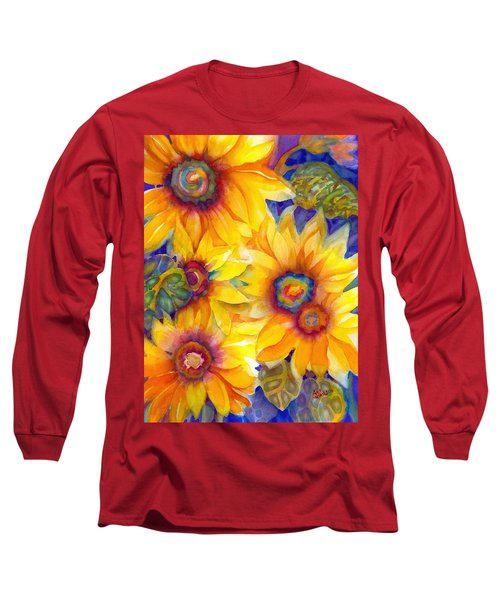 Sunflowers On Blue II Long Sleeve T-Shirt