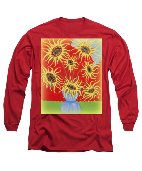 Sunflowers On Red Long Sleeve T-Shirt by Marie Schwarzer