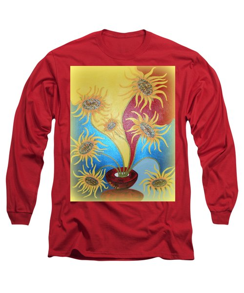 Sunflowers Symphony Long Sleeve T-Shirt by Marie Schwarzer
