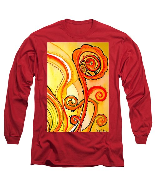 Long Sleeve T-Shirt featuring the painting Sunny Flower - Art By Dora Hathazi Mendes by Dora Hathazi Mendes