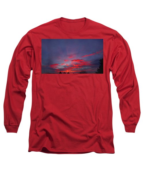 Sunrise Abstract, Red Oklahoma Morning Long Sleeve T-Shirt