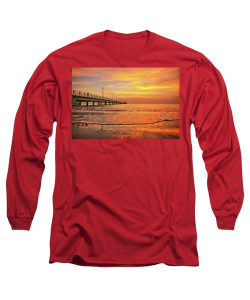 Sunrise Delight On The Beach At Shorncliffe Long Sleeve T-Shirt