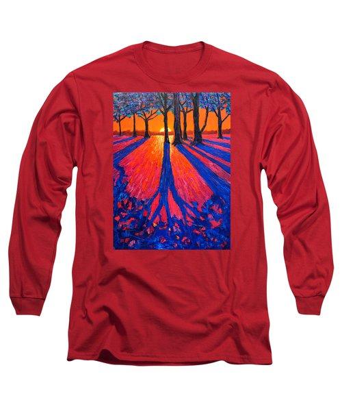 Sunrise In Glory - Long Shadows Of Trees At Dawn Long Sleeve T-Shirt by Ana Maria Edulescu