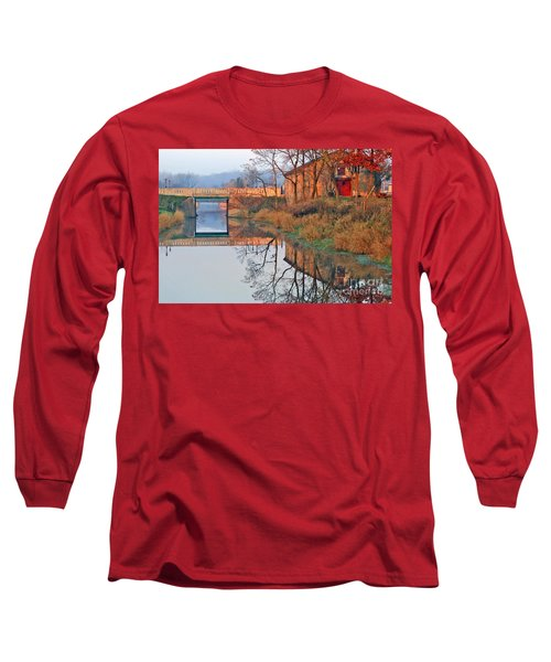 Sunrise On The I And  M Canal Long Sleeve T-Shirt by Paula Guttilla