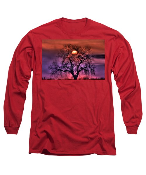 Sunrise Through The Foggy Tree Long Sleeve T-Shirt by Scott Mahon