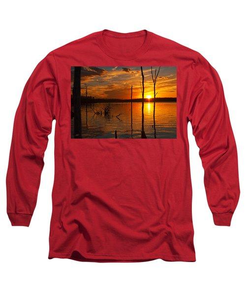 Long Sleeve T-Shirt featuring the photograph sunset @ Reservoir by Angel Cher