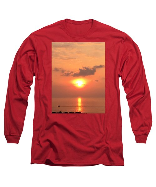 Long Sleeve T-Shirt featuring the photograph Sunset And Sailboat by Karen Nicholson