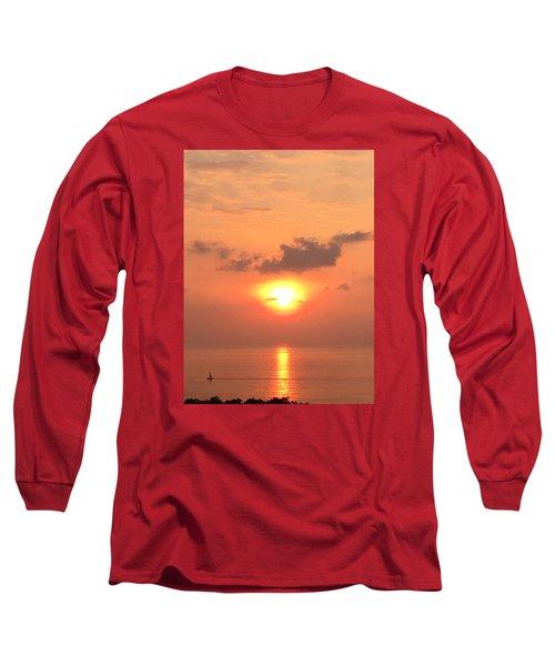 Sunset And Sailboat Long Sleeve T-Shirt by Karen Nicholson