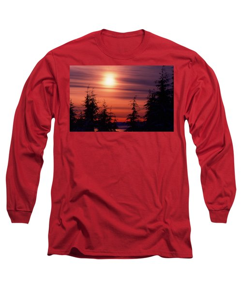 Sunset And Trees Two  Long Sleeve T-Shirt by Lyle Crump