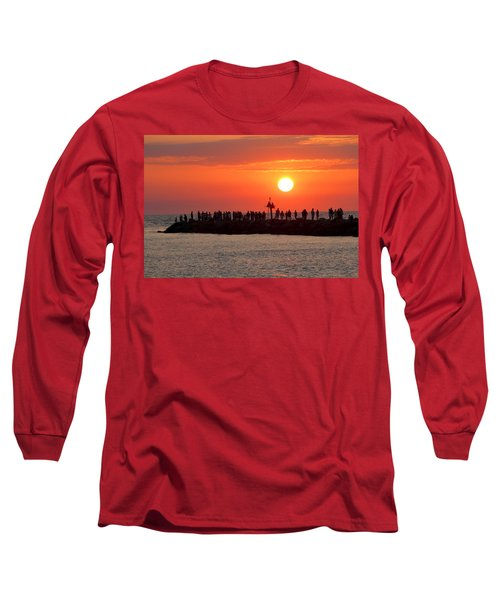 Sunset At The South Jetty, Venice, Florida, Usa Long Sleeve T-Shirt
