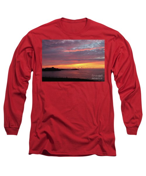 Long Sleeve T-Shirt featuring the photograph Sunset Clouds In Newquay Cornwall by Nicholas Burningham