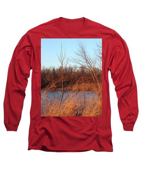 Sunset Field Over Water Long Sleeve T-Shirt