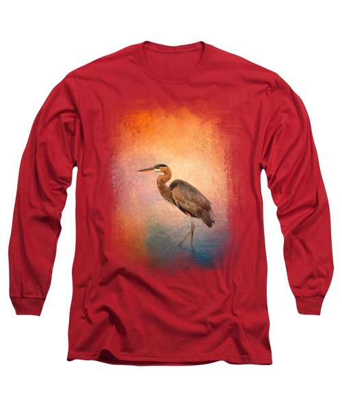 Sunset Heron Long Sleeve T-Shirt by Jai Johnson