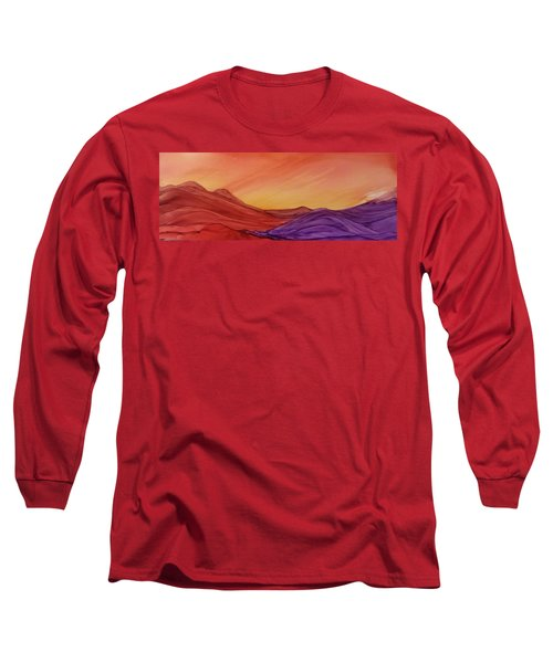 Sunset On Red And Purple Hills Long Sleeve T-Shirt