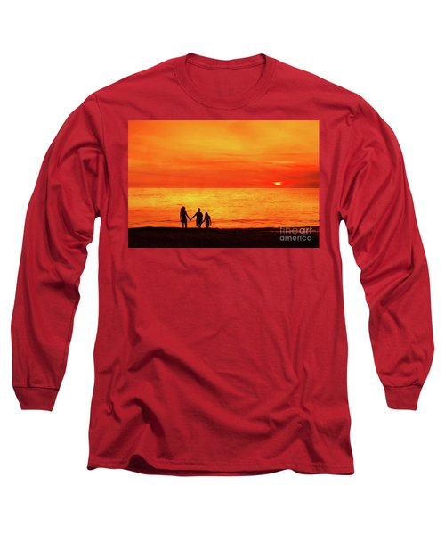 Sunset On The Beach Long Sleeve T-Shirt by Randy Steele