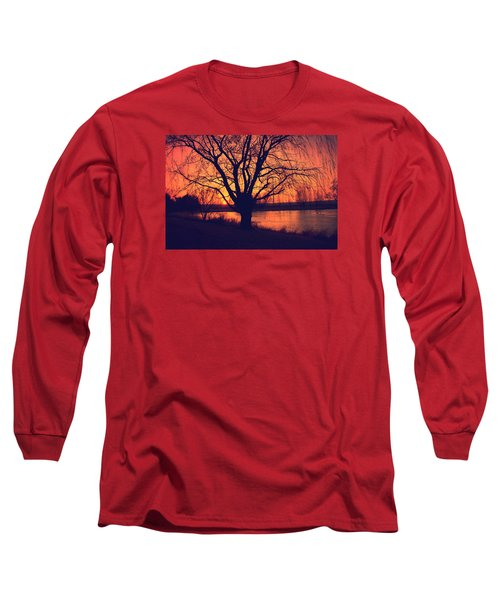Sunset On Willow Pond Long Sleeve T-Shirt by Kathy M Krause