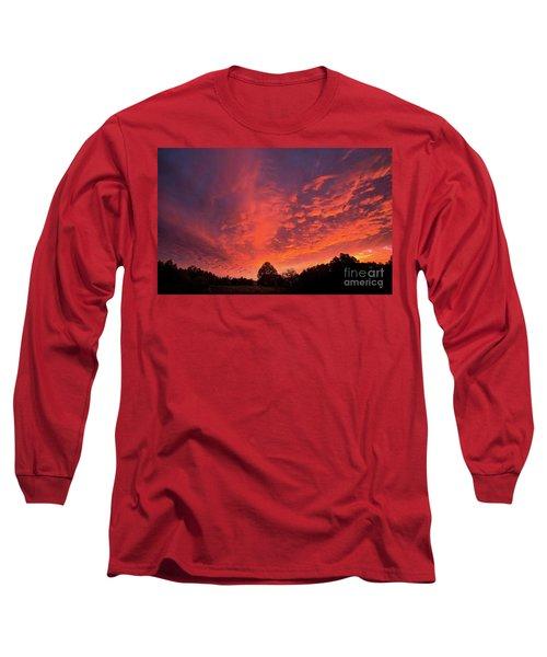 Sunset Over A Maine Farm Long Sleeve T-Shirt by Alana Ranney