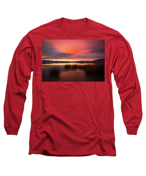 Sunset Reeds On Utah Lake Long Sleeve T-Shirt