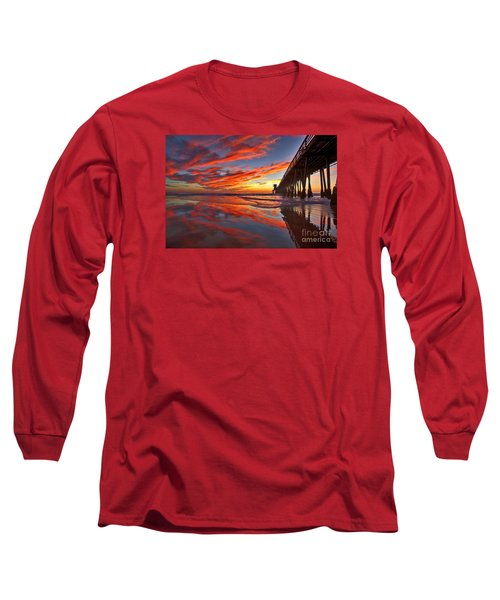 Sunset Reflections At The Imperial Beach Pier Long Sleeve T-Shirt by Sam Antonio Photography