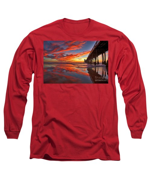 Sunset Reflections At The Imperial Beach Pier Long Sleeve T-Shirt