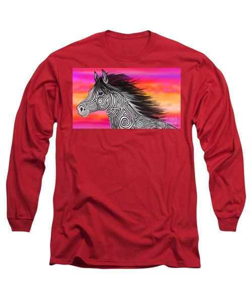 Long Sleeve T-Shirt featuring the painting Sunset Ride Tribal Horse by Nick Gustafson