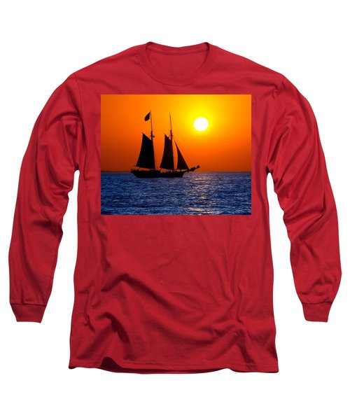 Sunset Sailing In Key West Florida Long Sleeve T-Shirt by Michael Bessler
