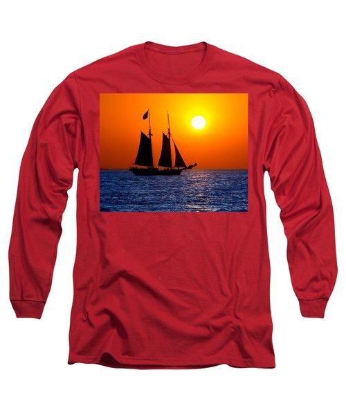 Sunset Sailing In Key West Florida Long Sleeve T-Shirt