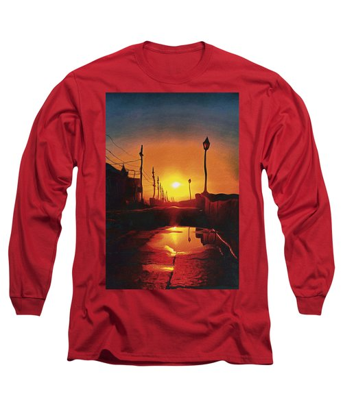 Surreal Cityscape Sunset Long Sleeve T-Shirt by Anton Kalinichev