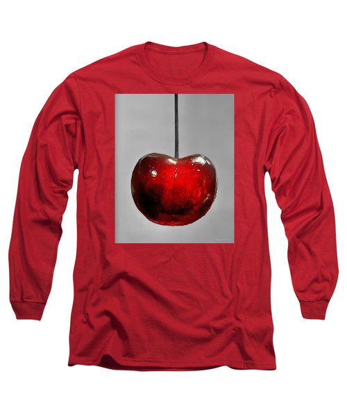 Long Sleeve T-Shirt featuring the photograph Suspended Cherry by Suzanne Stout