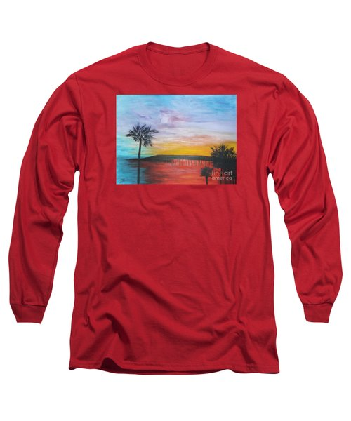 Table On The Beach From The Water Series Long Sleeve T-Shirt by Donna Dixon