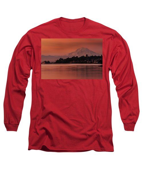 Tacoma Bay Mount Rainier Sunrise Long Sleeve T-Shirt