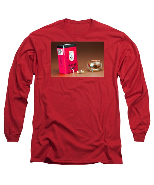 Long Sleeve T-Shirt featuring the photograph Tea Drinking In A Family Little People Big World by Paul Ge