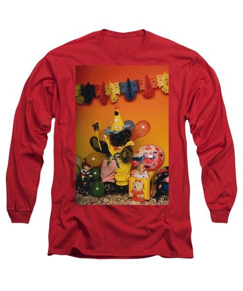 Teddy Bear Celebrates, Birthday Teddy Bear Long Sleeve T-Shirt