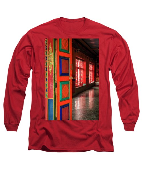 Long Sleeve T-Shirt featuring the photograph Temple Door by Alexey Stiop