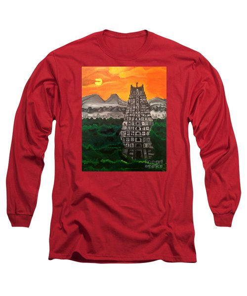 Temple Near The Hills Long Sleeve T-Shirt by Brindha Naveen