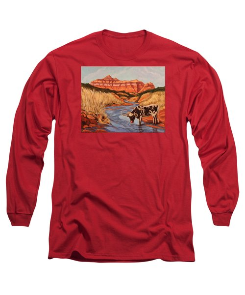 Texas Longhorn In Palo Duro Canyon Long Sleeve T-Shirt