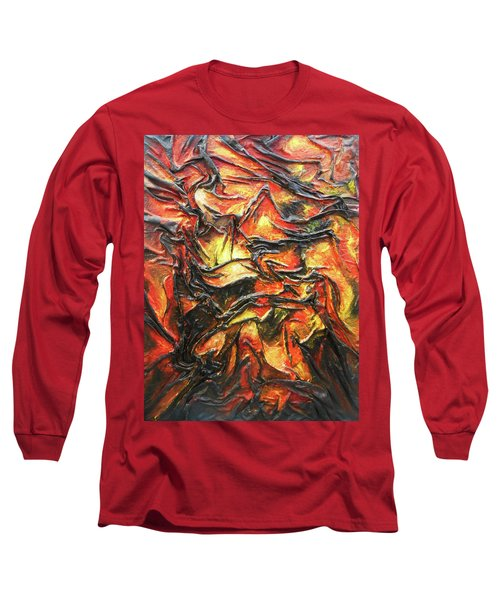 Long Sleeve T-Shirt featuring the mixed media Texture Of Fire by Angela Stout