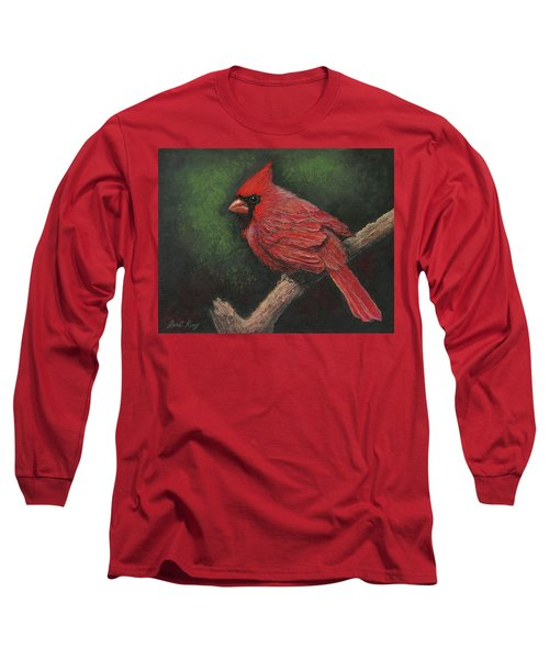 Long Sleeve T-Shirt featuring the painting Textured Cardinal by Janet King