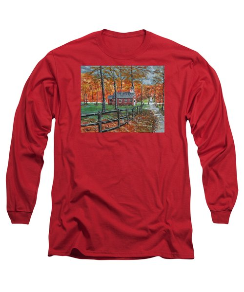 The Brick Country Schoolhouse Long Sleeve T-Shirt by Mike Caitham