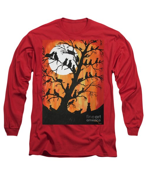 The Cats On Night Watch Long Sleeve T-Shirt by Jeffrey Koss