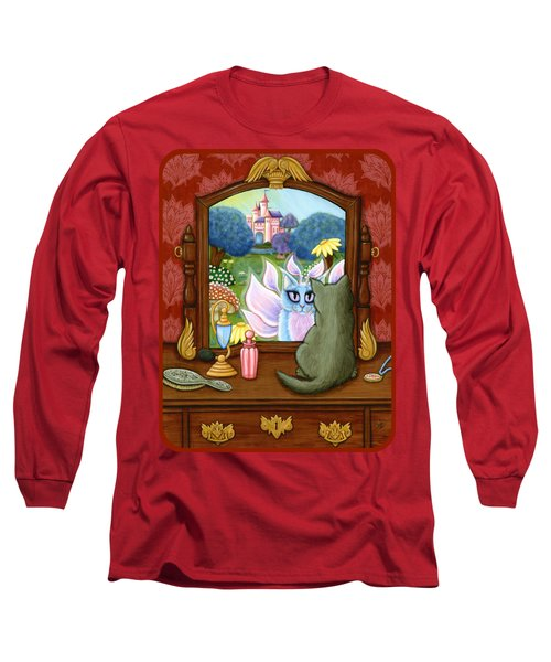 Long Sleeve T-Shirt featuring the painting The Chimera Vanity - Fantasy World by Carrie Hawks