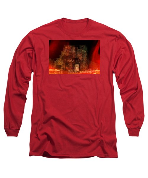 Long Sleeve T-Shirt featuring the photograph The Ghostly Ruins Of An Elizabethan Fireplace by Linsey Williams