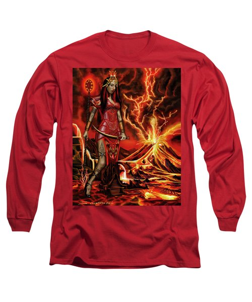 Long Sleeve T-Shirt featuring the painting The Goodess Pele Of Hawaii by James Christopher Hill