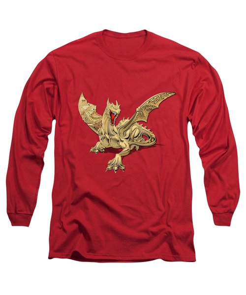 The Great Dragon Spirits - Golden Guardian Dragon On Red And Black Canvas Long Sleeve T-Shirt by Serge Averbukh