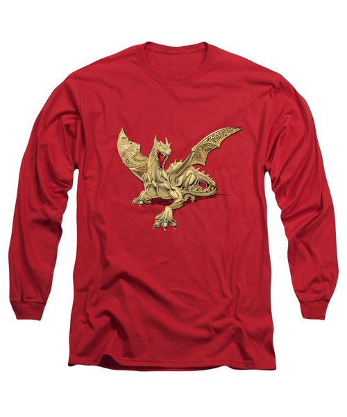 The Great Dragon Spirits - Golden Guardian Dragon On Red And Black Canvas Long Sleeve T-Shirt