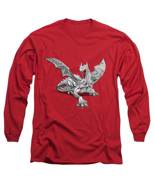 The Great Dragon Spirits - Silver Guardian Dragon On Black And Red Canvas Long Sleeve T-Shirt by Serge Averbukh