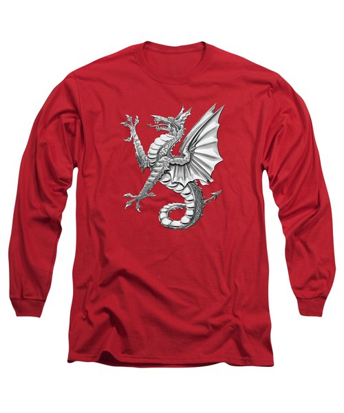 The Great Dragon Spirits - Silver Sea Dragon Over Red Canvas Long Sleeve T-Shirt