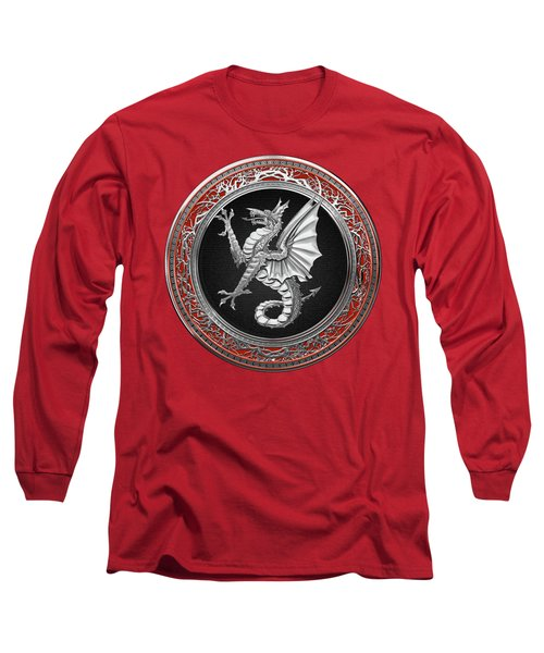 The Great Dragon Spirits - Silver Sea Dragon Over Red Velvet Long Sleeve T-Shirt