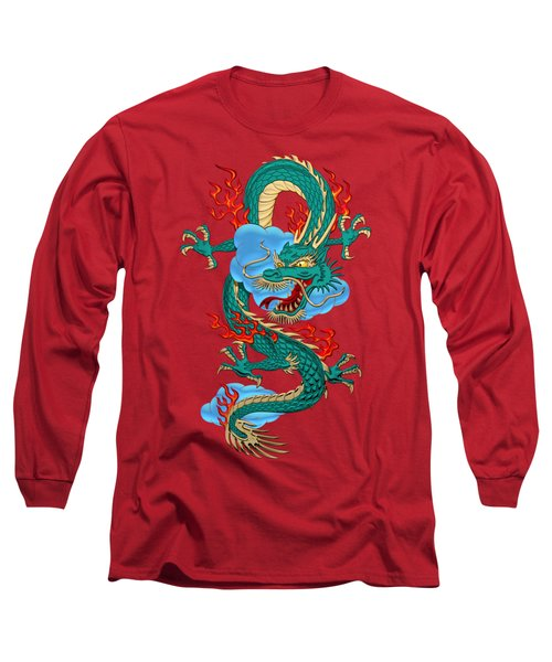 The Great Dragon Spirits - Turquoise Dragon On Red Silk Long Sleeve T-Shirt by Serge Averbukh
