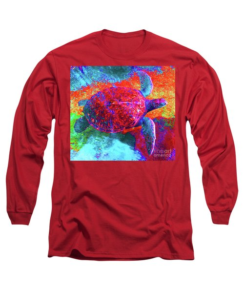 The Great Sea Turtle In Abstract Long Sleeve T-Shirt